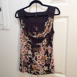 Deletta Sequined Floral Draped Blouse Top Grey M